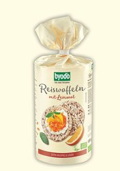 organic rice cakes with linseed, omega 3, Byodo Naturkost