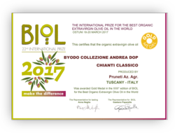 BIOL gold medail 2017 for the Byodo Collezione Andrea Olive Oil D.O.P