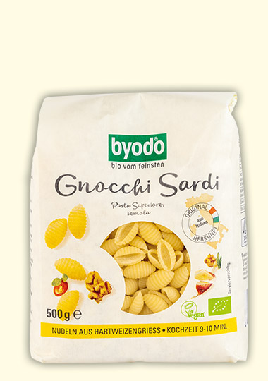 organic gnocchi sardi semolina, light coloured, Byodo Naturkost