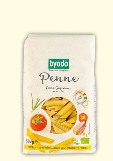 organic Penne semolina, light coloured, Byodo Naturkost