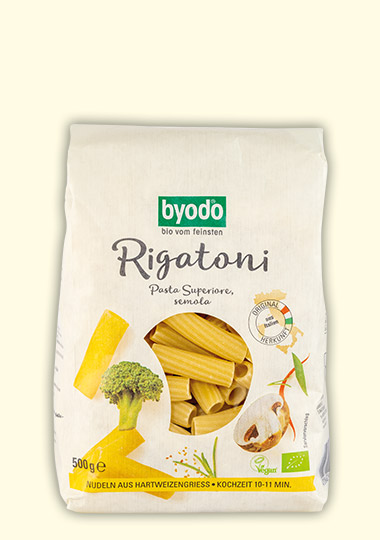 organic rigatoni semolina, light coloured, Byodo Naturkost